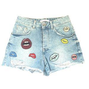 Zara Lips Graphic Distressed Jean Short